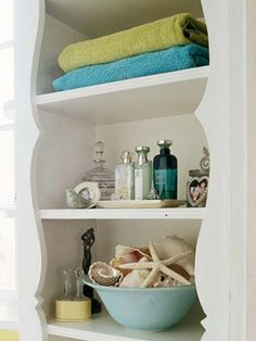 Not my style, but a good idea for what to do with the similarly-shaped deep open shelving in the guest bath