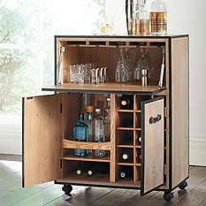 Storage Furniture - Move the party from room to room with our portable Galway Mobile Bar Cart. The upper cabinet has a tilt-down door that becomes a handy serving table. Wine Bar Cabinet, Low Cabinet, Wine Cabinets, Wooden Cabinets, Upper Cabinets, Cabinet Doors, Diy Storage Cabinets, Oak Panels, Serving Table