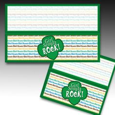 "Favor Bag Topper, labels ""Girl Scouts Rock"" printable party favor, etsy instant download by EmptyNesterCrafts on Etsy"