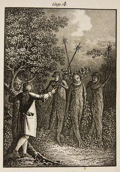 Ludvig Holberg, Baron of Holberg (December 3, 1684 – January 28, 1754): Niels Klim's Underground Travels (originally published in Latin as Nicolai Klimii Iter Subterraneum 1741) - illustration for Niels Klim's Underground Travels (Danish edition, 1834)