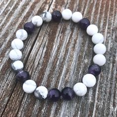 Element Air Bracelet with Howlite and Amethyst. Find balance with our Element Collection by Soul Sisters Designs