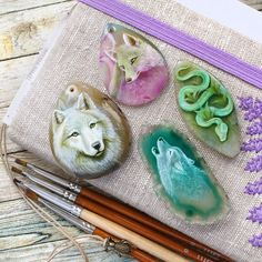 Working on the new Spring spirits collection! Swipe to see a previous step (I always love this moment when animals on paintings look like mysterious spirits. Each my painting is a journey ❤️) Snake Jewelry, Animal Jewelry, Animal Meanings, White Wolves, Wolf Spirit Animal, Snake Art, Fox Art, Agate Stone, Stone Painting