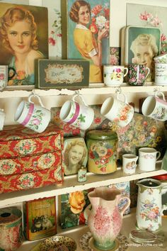 Lots of Vintage Treasures fill the Dresser in the Living Room