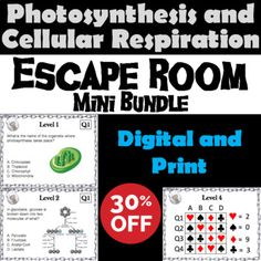 Photosynthesis and Cellular Respiration Activity: Biology Escape Room Science Biology Review, Ap Biology, Marine Biology, Scientific Method Activities, Teaching Activities, Teaching Ideas, Cell Respiration, Photosynthesis And Cellular Respiration, Plant Science