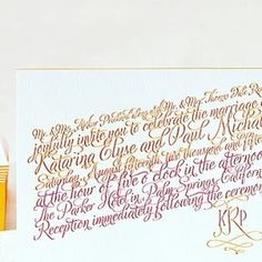 Colored Script and Painted Edges Calligraphy Letterpress Wedding Invitation honey-paper.com #orange #pink #santabarbarawedding #santaynezwedding #sunvalleywedding Letterpress Wedding Stationery, Painting Edges, Orange Pink, Script, Reception, Honey, Calligraphy, Paper, Instagram Posts