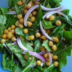 Warm Chickpea Salad with Arugula. Mark Bittman, you won me over with this recipe. It's quick and super delicious!!!!