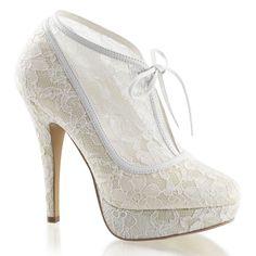 Ivory White Lace Bridal Vintage Wedding Shoes Platform Heels Womans 5 6 7 8 9 10 #Fabulicious #PlatformsWedges