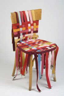 Chairs transformed with old clothing or fabric from Yahia Ouled-Moussa.