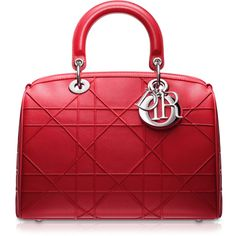 "GRANVILLE Small crimson red leather ""Dior Granville"" polochon bag ❤ liked on Polyvore"