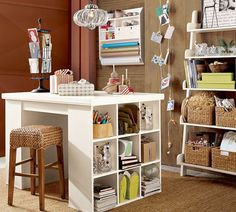 office/craft room inspiration--would love a work table (in addition to my secretary, of course