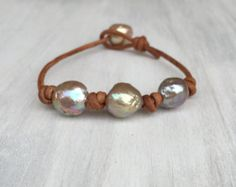 Freshwater Pearl and Leather Trinity Waterfall by Sandandseapearls