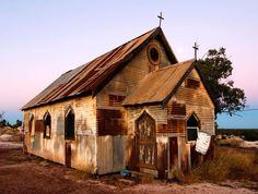 Photo: This Church was built for the film 'Goddess of You will find it along the yellow car door tour out on the Three Mile Road. It's well worth a look on your next visit to Lightning Ridge :) Yellow Car, Lightning Ridge, Tourism, Scenery, House Styles, World, Building, Places, Knowledge