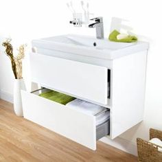 Clever white gloss wall mounted vanity unit