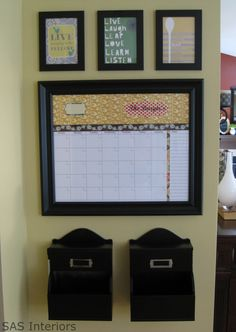 "diy command center  1. master calendar like in center with appts, etc. 2. place to put mail coming in and going out 3. places to hang C's pics and drawings 4. dry erase ""things needed"" board for anyone to write on  For Decoration, a ""W"" with decopaged pics on it."