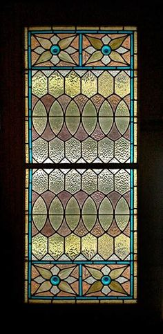 Victorian Venetian Stained Glass Window In Sliding Pocket Doors