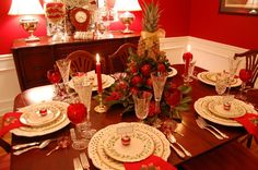 Dessert Table Ideas for Christmas tablescape | Christmas Table Setting with Apple Tree Centerpiece