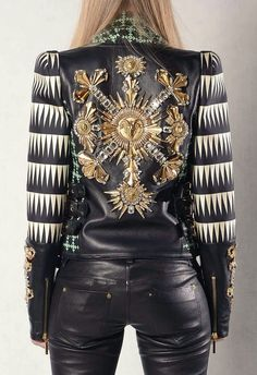 hautekills: Fausto Puglisi s/s 2013 Fashion Week, Love Fashion, Fashion Art, Womens Fashion, Fashion Design, Estilo Rock, Vogue, Leather And Lace, Embroidered Leather Jacket
