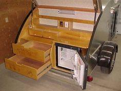 old teardrop trailers | Cozy Cruiser teardrop trailer rear view showing rear arrangement and ...