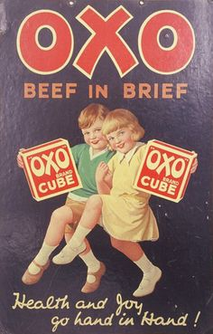 Advertising the health benefits of the humble Oxo cube. Vintage Advertising Posters, Vintage Advertisements, Vintage Ads, Vintage Posters, Vintage Food, Vintage Metal Signs, Retro Ads, Vintage Branding, Old Tv