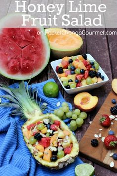 Honey Lime Fruit Salad - Filled with lots of variety of fresh fruit – watermelon, cantaloupe, pineapple, kiwi, strawberries, blueberries, and more with a fresh lime and honey dressing and sprinkled with almonds, it's sure to be a hit at your house too!