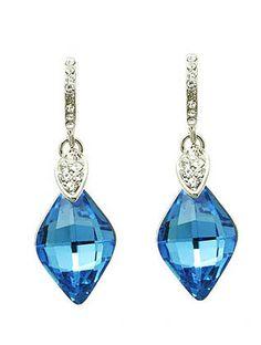 Aqua Blue Gem Statement Earrings from Helen's Jewels