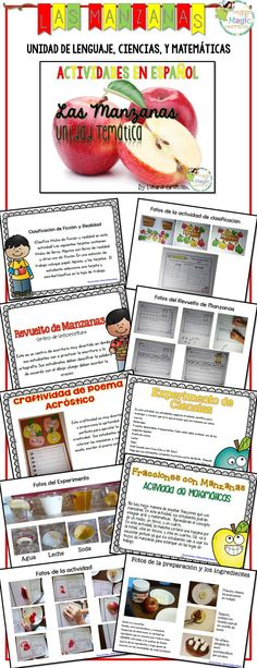 Apples thematic unit in Spanish. 50 pages of great language, science and math activities. Activities include: Apple fiction and nonfiction sort: Anchor chart idea and materials. Cards, sorting baskets, and answer sheet. *Apple scramble literacy center: 5 activity pages for students to build words related to the month of September and write sentences. Apple Acrostic poem craftivity. Rotting Apple Science experiment: directions and background information booklet following the scientific method