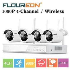 Floureon 4CH Wireless Home Security Camera NVR System 1080P AHD + 4x 960P Outdoor Wireless IP Camera CCTV WIFI Network Night Vesion Video Recorder NVR Kit | Wireless Outdoor Cameras