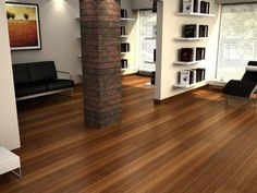 Bamboo flooring is perfect for a sleek, comfortable look. I love the look of this. It's sleek and smooth and looks very clean!