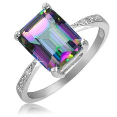 $19.99 - 3.5 Carat Mystic Quartz Diamond Accent Sterling Silver Emerald Cut Ring