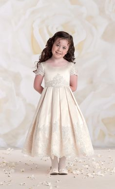 JC_113361IVAL - Joan Calabrese Style 113361- Sleeveless Satin and Tulle Dress with Lace - Lace Dresses - Flower Girl Dress For Less