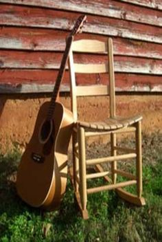 Armless rocking chair for knitting, sewing & guitar playing