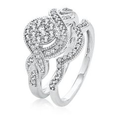 Shop our ct. Diamond Engagement Twist Ring Set in White Gold. Browse our rings at Helzberg Diamonds today! Small Diamond Rings, Diamond Wedding Rings, Classic Engagement Rings, Wedding Engagement, Our Wedding Day, Wedding Stuff, Ring My Bell, Wedding Inspiration, Wedding Ideas