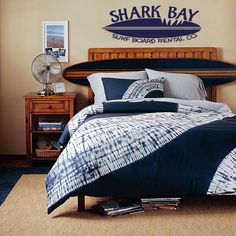 Shark Bay Surf Board vinyl wall decal. Ryan really loves this WHOLE room...everything about it