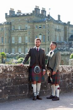 Groom wearing our Brown Tweed outfit with Wilson Muted tartan kilt whilst the Father of the Groom is sporting our Signature Collection jacket and waistcoat with a County Cavan tartan kilt. Scottish Man, Scottish Fashion, Scottish Kilts, Groom Wear, Groom Outfit, Men In Kilts, Kilt Men, Kilt Shop, Tweed Outfit