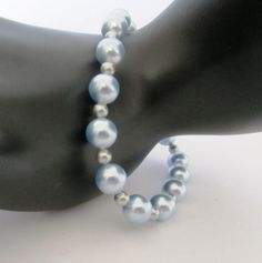 Light Blue Pearl Stretch Bracelet by MoYuenCreations on Etsy, $15.00