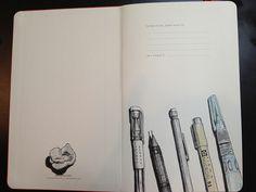 Cracked open a new Moleskine... Inside front cover illustration complete. by rebeccaStahr, via Flickr