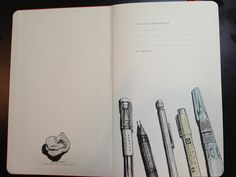 Cracked open a new Moleskine... Inside front cover illustration complete. by rebeccaStahr, via Flickr