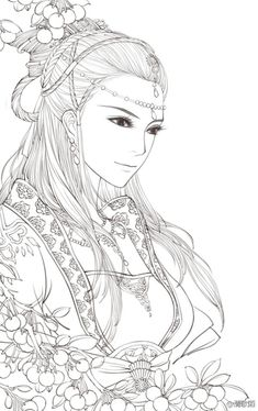 来发美丽的线稿. Beautiful Asian Style Coloring Page
