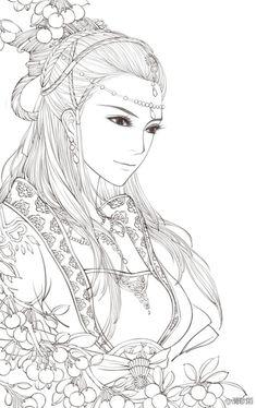 来发美丽的线稿. Beautiful Asian Style Coloring Page