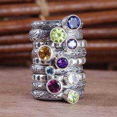 Olive Bungalow creates handcrafted artisan jewelry, including the most popular item of the season - custom stackable birthstone and gemstone rings. Stackable Birthstone Rings, My Birthstone, Stackable Rings, Birthstone Jewelry, Mother Jewelry, Mother Rings, Bungalow, Mom Ring, Hanging Earrings
