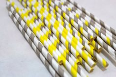 24 grey gray and yellow  vintage birthday party baby shower paper straws striped decor decorations