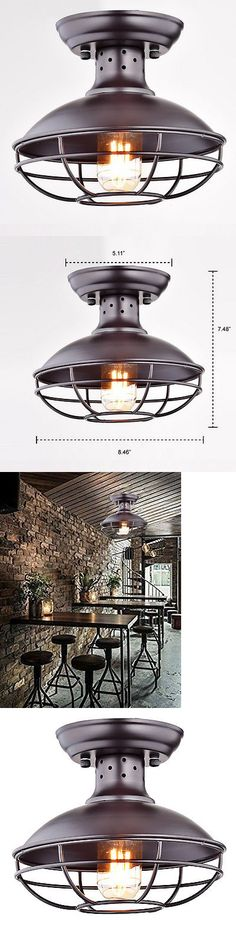 Chandeliers And Ceiling Fixtures 117503 Industrial Vintage Metal Cage Pendant Lighting Semi Flush Mount