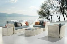Leisure outdoor rattan furniture sofa set/Outdoor white wicker garden patio furniture/ Garden fashion wicker sofa furniture