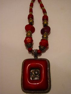 Big Chunky BOHO Red Beaded with Pendant Necklace by sweetiefluhr, $13.00