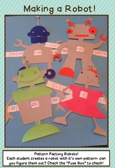 Robot craft and grade 2 patterning. Pattern pieces make for a great instructional gallery walk-- Number Pattern Activities, Centers and Craftivities Math Classroom, Classroom Themes, Classroom Activities, Math Patterns, Number Patterns, Key Stage 1 Maths, Robot Theme, Sun Projects, Robots For Kids