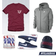 """#USAHockey faces off at noon today in Sochi, and you better be decked out in your red, white, & blue for it... The #VSLookBook has you covered from head-to-toe in patriotic garb that you'll be screaming """"O'er the land of the free and the home of the brave!""""  • Veterans Shirtium Logo T-Shirt - $15 (http://VeteransShirtium.com) • Nike AW77 Fleece Full-Zip - $65  • Pabst Blue Ribbon - $Varies  • Nike SB Koston 2 Max Sneaker - $115 • IIHF USA Sideline Knit Hat - $25"""