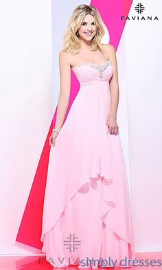 Shop Simply for Ashley Benson gowns for prom by Faviana 7101. Strapless long evening gowns and chiffon dresses for prom.