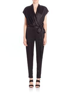 L'Agence | Black Alessandra Belted Satin Jumpsuit | Lyst