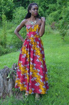 African print maxi dress ~African fashion, Ankara, kitenge, African women dresses, African prints, African men's fashion, Nigerian style, Ghanaian fashion ~DKK