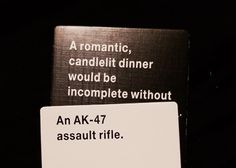 Or: A romantic candlelit dinner would be incomplete without Agent Orange salad dressing.
